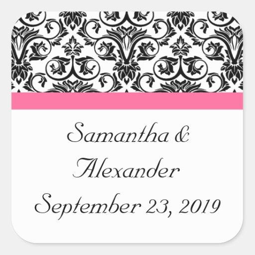 Victorian Fuchsia Pink and White Damask Sticker