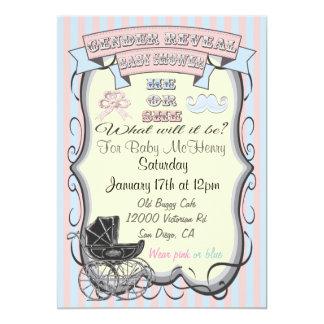 "Victorian Gender Reveal Baby Shower Invitations 5"" X 7"" Invitation Card"