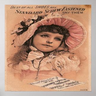 Victorian Girl Advertisement Shoes Art Print