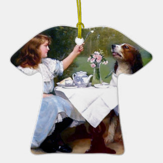 Victorian Girl and Pet Dog Table Manners painting Christmas Tree Ornament