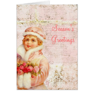 Victorian girl Christmas card