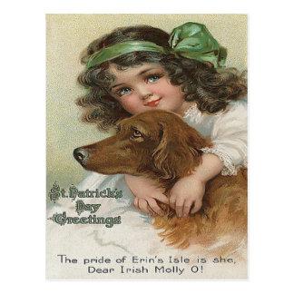Victorian Girl Dog Green Molly Postcard