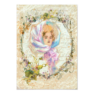 VICTORIAN GIRL HARRISON FISHER STYLE PRINT cropped 13 Cm X 18 Cm Invitation Card