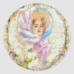 VICTORIAN GIRL HARRISON FISHER STYLE PRINT cropped Round Sticker