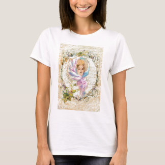 VICTORIAN GIRL HARRISON FISHER STYLE PRINT cropped T-Shirt