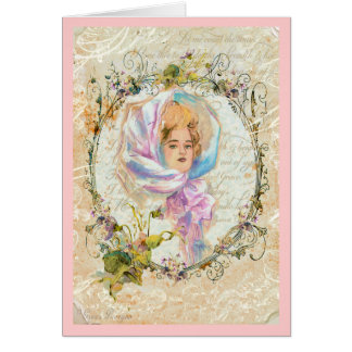 VICTORIAN GIRL HARRISON FISHER STYLE Valentine Greeting Card