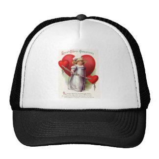 Victorian Girl Hearts Flowers Garland Poem Cap