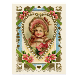 Victorian Girl in Heart Frame Vintage Reproduction Postcard