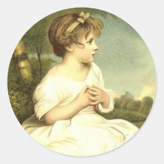Victorian Girl in the Garden Stickers Seals