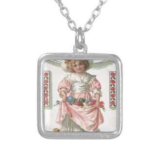 Victorian Girl Painted Colored Easter Egg Rose Square Pendant Necklace