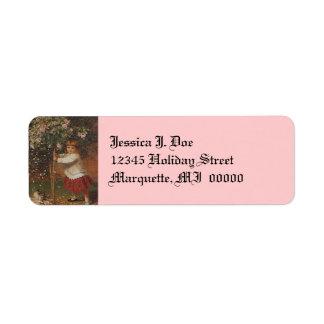 Victorian Girl Planting Roses Return address Label