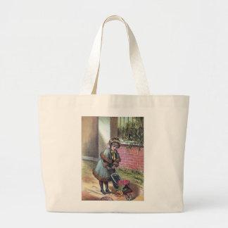 Victorian Girl Pushing Stroller Tote Bag