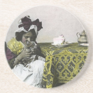 Victorian Girl Teat Time with Kitty Vintage Sandstone Coaster