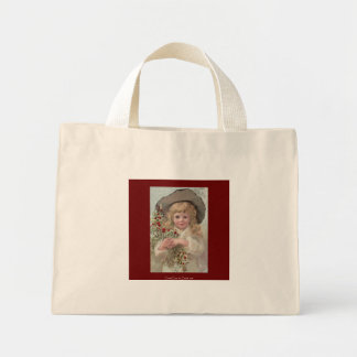 Victorian Girl with Christmas Holly Canvas Bags