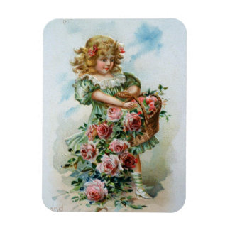 Victorian Girl with Roses Rectangular Photo Magnet