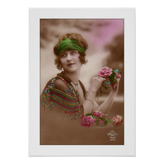 victorian girl with scarf shawl rose posters
