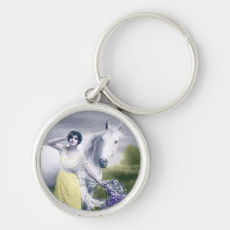 victorian girl with white horse key chain