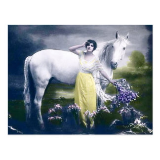 victorian girl with white horse postcard