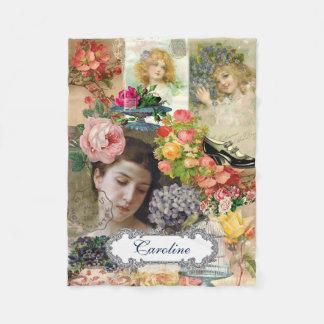 Victorian Girls Floral Personalized Fleece Blanket