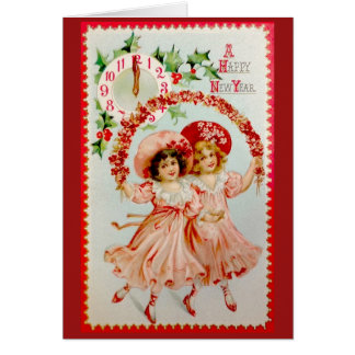 Victorian Girls New Year Greeting Card