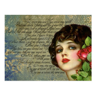 Victorian Glamour Girl w/ Red Rose Postcard