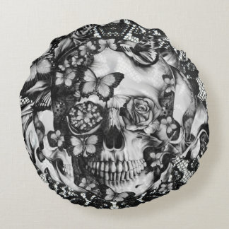 Victorian gothic, butterfly lace skull round cushion