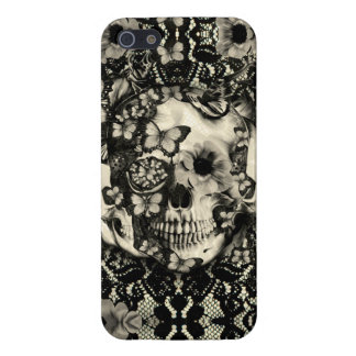 Victorian Gothic floral lace skull iPhone 5 Case