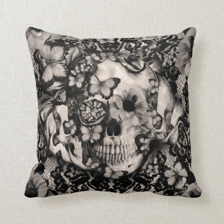 Victorian Gothic lace skull Cushion
