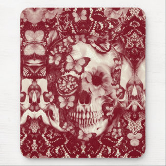 Victorian gothic lace skull mouse pad