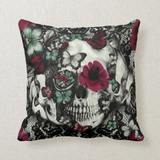 Victorian Gothic lace skull with butterflies Cushion