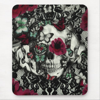 Victorian gothic lace skull with red accents mouse pad