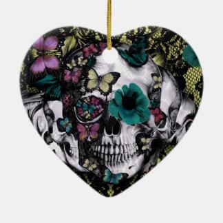 Victorian gothic lace skull with retro color ceramic heart decoration