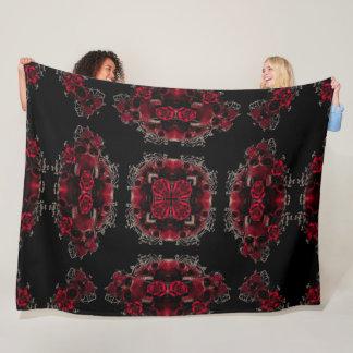 Victorian Gothic Rose Skulls Silk Foulard Pattern Fleece Blanket