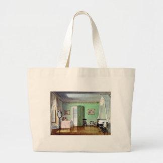 Victorian green bedroom jumbo tote bag