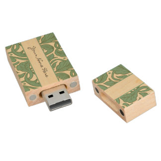 Victorian Green Floral Scroll Flourishes Wood USB 2.0 Flash Drive