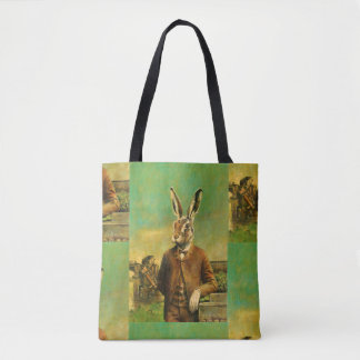 Victorian Hare  All Over Print Tote Bag