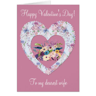 Victorian Heart Floral Happy Valentine's Day Wife Card