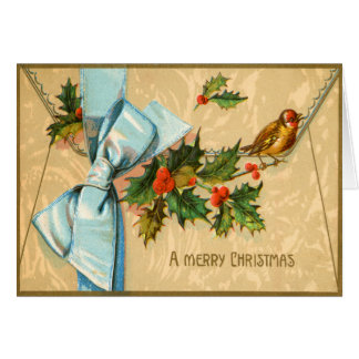 Victorian Holly and Bird Christmas Card