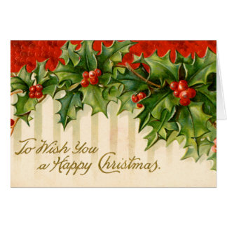 Victorian Holly Christmas Card