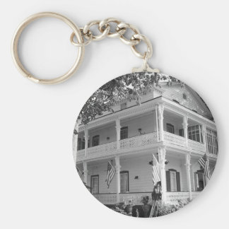 Victorian Home in Black & White Key Ring