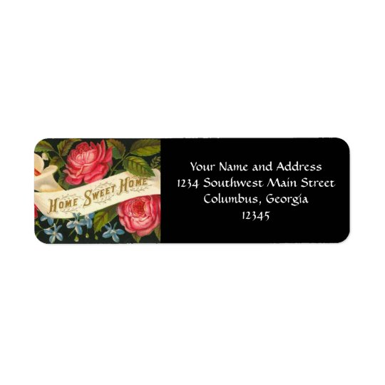 Victorian Home Sweet Home Roses Return Address Label
