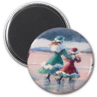VICTORIAN ICE SKATERS by SHARON SHARPE 6 Cm Round Magnet