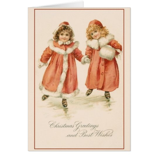Victorian Ice Skaters Christmas Greeting Card