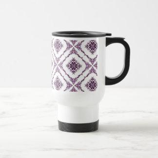 Victorian Inspired Purple Fractal Diamond Design Coffee Mugs