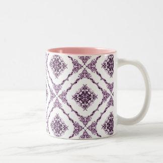 Victorian Inspired Purple Fractal Diamond Design Mug