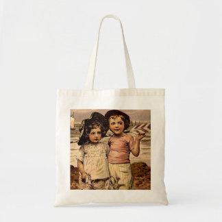 Victorian Kids Beach Vacation Vintage Art Tote Bag