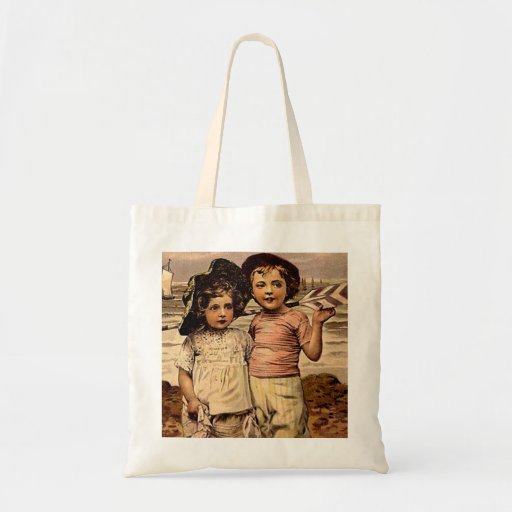 Victorian Kids Beach Vacation Vintage Art Tote Bag