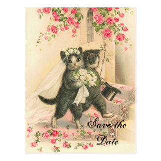 Victorian Kitten Wedding Save the Date Postcard