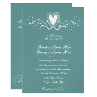 Victorian Lace Heart Wedding Invitation
