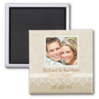 Victorian Lace - Save the Date Square Magnet
